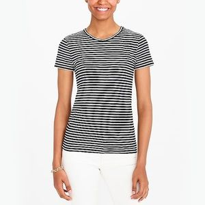 J.Crew Navy Blue and White Striped Linen T-shirt